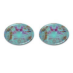 Retro Hippie Abstract Floral Blue Violet Cufflinks (oval) by CrypticFragmentsDesign