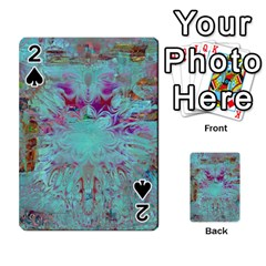 Retro Hippie Abstract Floral Blue Violet Playing Cards 54 Designs  by CrypticFragmentsDesign