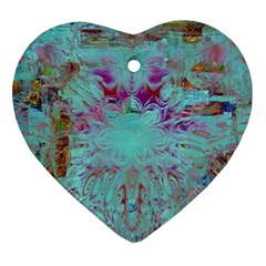 Retro Hippie Abstract Floral Blue Violet Heart Ornament (2 Sides) by CrypticFragmentsDesign