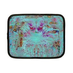 Retro Hippie Abstract Floral Blue Violet Netbook Case (Small)  by CrypticFragmentsDesign