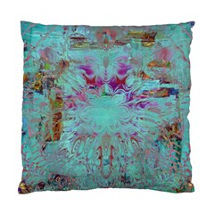 Retro Hippie Abstract Floral Blue Violet Standard Cushion Case (one Side) by CrypticFragmentsDesign