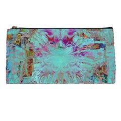 Retro Hippie Abstract Floral Blue Violet Pencil Cases by CrypticFragmentsDesign