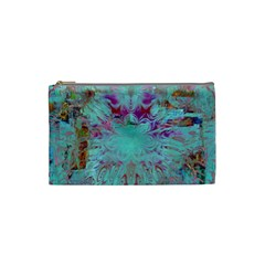 Retro Hippie Abstract Floral Blue Violet Cosmetic Bag (small)