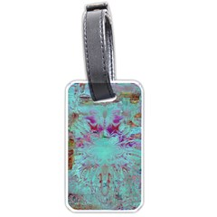 Retro Hippie Abstract Floral Blue Violet Luggage Tags (one Side)  by CrypticFragmentsDesign