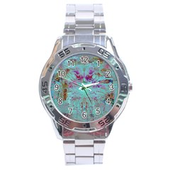 Retro Hippie Abstract Floral Blue Violet Stainless Steel Analogue Watch by CrypticFragmentsDesign