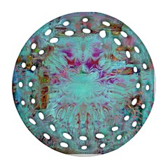 Retro Hippie Abstract Floral Blue Violet Round Filigree Ornament (2side) by CrypticFragmentsDesign