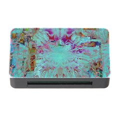 Retro Hippie Abstract Floral Blue Violet Memory Card Reader With Cf by CrypticFragmentsDesign