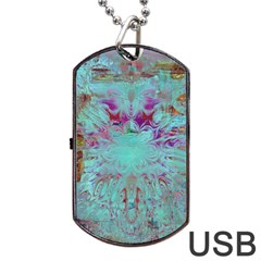 Retro Hippie Abstract Floral Blue Violet Dog Tag Usb Flash (two Sides)  by CrypticFragmentsDesign