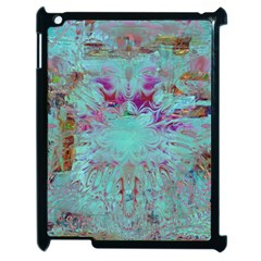 Retro Hippie Abstract Floral Blue Violet Apple Ipad 2 Case (black) by CrypticFragmentsDesign