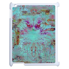 Retro Hippie Abstract Floral Blue Violet Apple Ipad 2 Case (white) by CrypticFragmentsDesign
