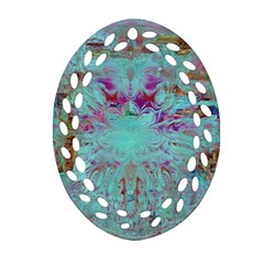 Retro Hippie Abstract Floral Blue Violet Oval Filigree Ornament (2 Side)  by CrypticFragmentsDesign