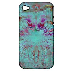 Retro Hippie Abstract Floral Blue Violet Apple Iphone 4/4s Hardshell Case (pc+silicone) by CrypticFragmentsDesign