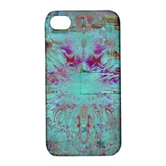 Retro Hippie Abstract Floral Blue Violet Apple Iphone 4/4s Hardshell Case With Stand by CrypticFragmentsDesign