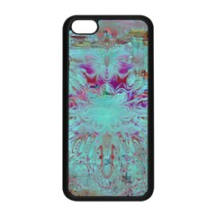 Retro Hippie Abstract Floral Blue Violet Apple Iphone 5c Seamless Case (black) by CrypticFragmentsDesign