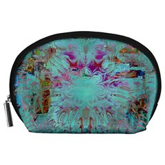 Retro Hippie Abstract Floral Blue Violet Accessory Pouches (large)  by CrypticFragmentsDesign
