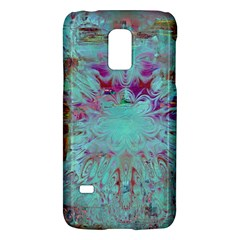 Retro Hippie Abstract Floral Blue Violet Galaxy S5 Mini by CrypticFragmentsDesign