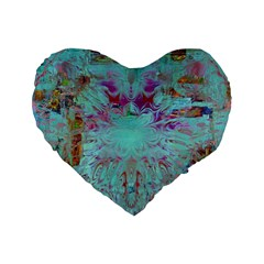 Retro Hippie Abstract Floral Blue Violet Standard 16  Premium Flano Heart Shape Cushions by CrypticFragmentsDesign