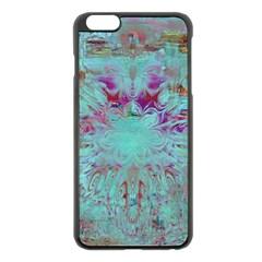 Retro Hippie Abstract Floral Blue Violet Apple Iphone 6 Plus/6s Plus Black Enamel Case by CrypticFragmentsDesign