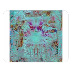 Retro Hippie Abstract Floral Blue Violet Double Sided Flano Blanket (large)  by CrypticFragmentsDesign