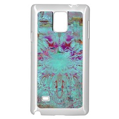 Retro Hippie Abstract Floral Blue Violet Samsung Galaxy Note 4 Case (white) by CrypticFragmentsDesign