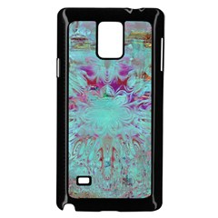 Retro Hippie Abstract Floral Blue Violet Samsung Galaxy Note 4 Case (black) by CrypticFragmentsDesign
