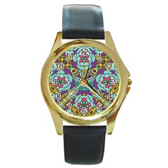 Mariager   Bold Blue,purple And Yellow Flower Design Round Gold Metal Watch by Zandiepants