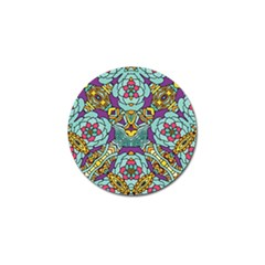 Mariager - Bold blue,purple and yellow flower design Golf Ball Marker (10 pack) by Zandiepants