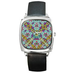 Mariager   Bold Blue,purple And Yellow Flower Design Square Metal Watch by Zandiepants