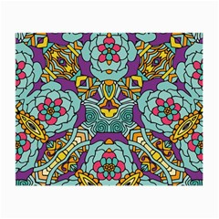 Mariager   Bold Blue,purple And Yellow Flower Design Small Glasses Cloth