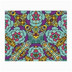 Mariager - Bold blue,purple and yellow flower design Small Glasses Cloth Front