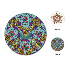 Mariager   Bold Blue,purple And Yellow Flower Design Playing Cards (round) by Zandiepants