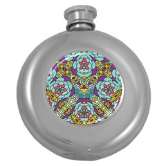 Mariager   Bold Blue,purple And Yellow Flower Design Hip Flask (5 Oz) by Zandiepants