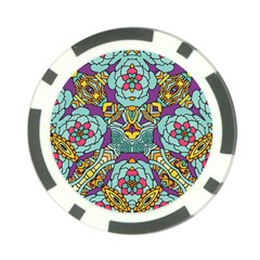 Mariager   Bold Blue,purple And Yellow Flower Design Poker Chip Card Guard by Zandiepants