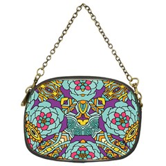 Mariager   Bold Blue,purple And Yellow Flower Design Chain Purse (one Side) by Zandiepants