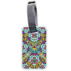 Mariager   Bold Blue,purple And Yellow Flower Design Luggage Tag (two Sides) by Zandiepants