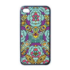 Mariager   Bold Blue,purple And Yellow Flower Design Apple Iphone 4 Case (black) by Zandiepants
