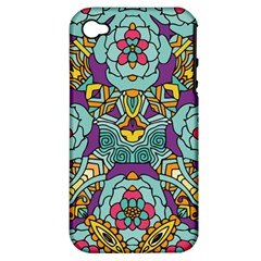 Mariager   Bold Blue,purple And Yellow Flower Design Apple Iphone 4/4s Hardshell Case (pc+silicone) by Zandiepants