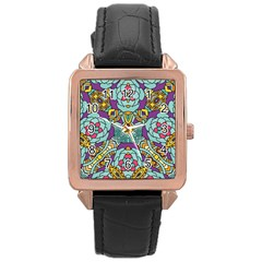 Mariager   Bold Blue,purple And Yellow Flower Design Rose Gold Leather Watch  by Zandiepants