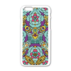 Mariager   Bold Blue,purple And Yellow Flower Design Apple Iphone 6/6s White Enamel Case by Zandiepants