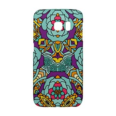 Mariager - Bold blue,purple and yellow flower design Samsung Galaxy S6 Edge Hardshell Case