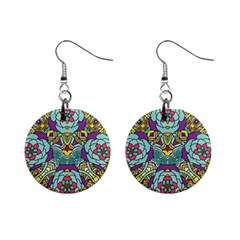 Mariager   Bold Blue,purple And Yellow Flower Design 1  Button Earrings by Zandiepants