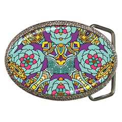 Mariager   Bold Blue,purple And Yellow Flower Design Belt Buckle by Zandiepants