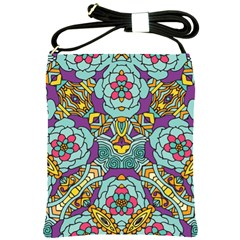 Mariager   Bold Blue,purple And Yellow Flower Design Shoulder Sling Bag by Zandiepants