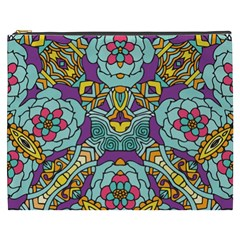 Mariager   Bold Blue,purple And Yellow Flower Design Cosmetic Bag (xxxl) by Zandiepants