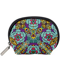 Mariager   Bold Blue,purple And Yellow Flower Design Accessory Pouch (small) by Zandiepants