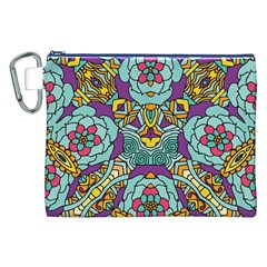 Mariager   Bold Blue,purple And Yellow Flower Design Canvas Cosmetic Bag (xxl) by Zandiepants
