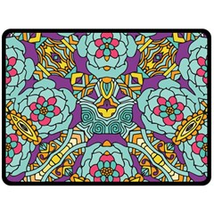 Mariager   Bold Blue,purple And Yellow Flower Design Fleece Blanket (large) by Zandiepants