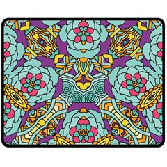 Mariager   Bold Blue,purple And Yellow Flower Design Double Sided Fleece Blanket (medium) by Zandiepants