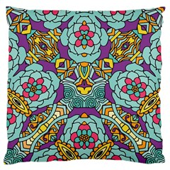 Mariager   Bold Blue,purple And Yellow Flower Design Large Flano Cushion Case (two Sides) by Zandiepants