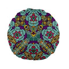 Mariager   Bold Blue,purple And Yellow Flower Design Standard 15  Premium Flano Round Cushion  by Zandiepants